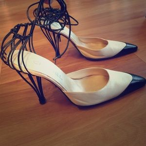 Chanel satin/leather pump with birdcage heel